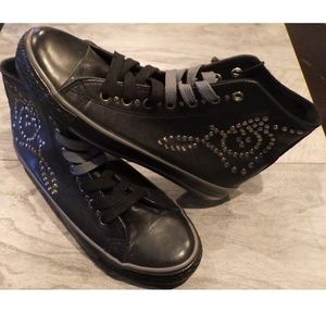 Candy Couture Black High Top Studded Sneakers 7